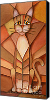 Cubism Canvas Prints - King of the Cats Canvas Print by Jutta Maria Pusl