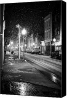 White Seagull Canvas Prints - King Street Charleston Snow Canvas Print by Dustin K Ryan