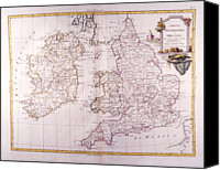 Antique Map Digital Art Canvas Prints - Kingdom Of England And Ireland Canvas Print by Fototeca Storica Nazionale