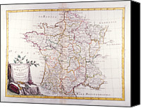 Antique Map Digital Art Canvas Prints - Kingdom Of France Divided Into Its Governments Canvas Print by Fototeca Storica Nazionale