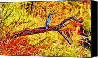 Fauna Painting Canvas Prints - Kingfisher Canvas Print by George Rossidis