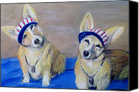 Corgies Canvas Prints - Kipper and Tristan Canvas Print by Trudy Morris
