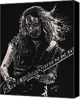 Celebrities Drawings Canvas Prints - Kirk Hammett Canvas Print by Kathleen Kelly Thompson