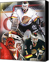 Hockey Goalie Canvas Prints - Kirk Mclean Collage Canvas Print by Mike Oulton