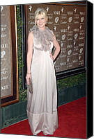 Satin Dress Canvas Prints - Kirsten Dunst Wearing A Valentino Gown Canvas Print by Everett