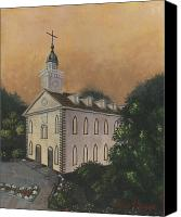 Mormon Painting Canvas Prints - Kirtland Temple Canvas Print by Jeff Brimley