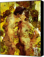 Couples Digital Art Canvas Prints - Kiss Me Canvas Print by Kurt Van Wagner