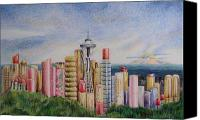 Seattle Drawings Canvas Prints - Kiss of Seattle Canvas Print by Mary Jo Jung