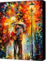 Afremov Canvas Prints - Kiss Under The Rain Canvas Print by Leonid Afremov