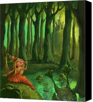 Woods Canvas Prints - Kissing Frogs Canvas Print by Andy Catling