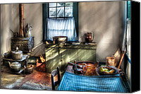 Colonial Kitchen Canvas Prints - Kitchen - Old fashioned kitchen Canvas Print by Mike Savad