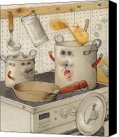 Kitchen Drawings Canvas Prints - Kitchen Canvas Print by Kestutis Kasparavicius