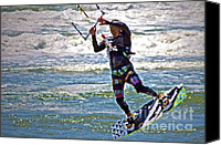 Beach  Wind Surfing Canvas Prints - Kite Surfing Canvas Print by Gwyn Newcombe