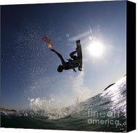 Surf Lifestyle Canvas Prints - Kitesurfing in the Mediterranean Sea  Canvas Print by Hagai Nativ