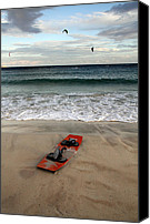 Beach  Wind Surfing Canvas Prints - Kitesurfing Canvas Print by Stylianos Kleanthous
