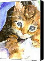 Tabby Painting Canvas Prints - Kitten In Blue Canvas Print by Christy  Freeman