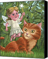 Fantasy Canvas Prints - Kitten With Girl Fairy In Garden Canvas Print by Martin Davey