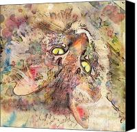 Marilyn Sholin Canvas Prints - Kitty Fluffs Canvas Print by Marilyn Sholin