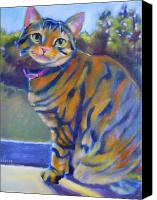 Tabby  Painting Canvas Prints - Kitty in the window Canvas Print by Kaytee Esser