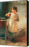 Pouring Painting Canvas Prints - Kittys Breakfast Canvas Print by Farmer Emily