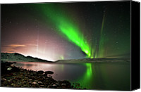 Aurora Borealis Canvas Prints - Kleifarvatn Lake Canvas Print by Gudjon Otto Bjarnason