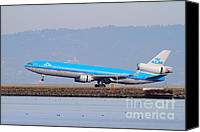 Airways Canvas Prints - KLM Royal Dutch Airlines Jet Airplane At San Francisco International Airport SFO . 7D12157 Canvas Print by Wingsdomain Art and Photography