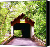 Wood Bridges Canvas Prints - Knechts Covered Bridge Canvas Print by Paul Ward