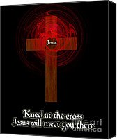 Christian Digital Art Canvas Prints - Kneel At The Cross Canvas Print by Methune Hively