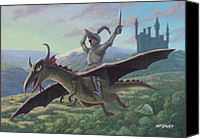 Sword Cartoon Canvas Prints - Knight Riding On Flying Dragon Canvas Print by Martin Davey