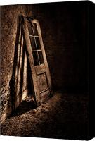 Door Canvas Prints - Knockin At The Wrong Door Canvas Print by Evelina Kremsdorf