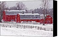 Barn Photo Canvas Prints - Knox Farm Snowfall Canvas Print by Don Nieman