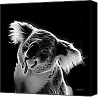 Koala Pop Art Canvas Prints - Koala Pop Art - Greyscale Canvas Print by James Ahn