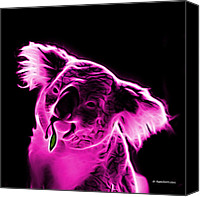 Koala Pop Art Canvas Prints - Koala Pop Art - Magenta Canvas Print by James Ahn