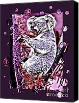 Koala Mixed Media Canvas Prints - Koala Canvas Print by Tisha McGee