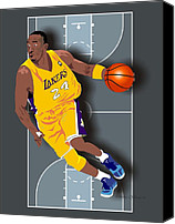 Los Angeles Lakers Canvas Prints - Kobe Bryant 24 Canvas Print by Walter Neal
