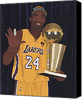 Los Angeles Lakers Canvas Prints - Kobe Bryant Five Championships Canvas Print by Tomas Raul Calvo Sanchez