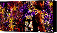 Los Angeles Lakers Canvas Prints - Kobe Bryant Looking Back Signed Prints available at laartwork.com Coupon Code KODAK Canvas Print by Leon Jimenez
