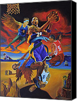 Los Angeles Lakers Canvas Prints - Kobe Defeating The Demons Canvas Print by Luis Antonio Vargas