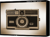 Black Digital Art Canvas Prints - Kodak Instamatic Camera Canvas Print by Mike McGlothlen