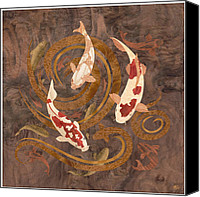 Wood Mixed Media Canvas Prints - Koi Fish Wood Art Canvas Print by Vincent Doan