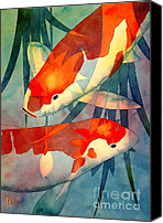 Japanese Canvas Prints - Koi Love Canvas Print by Robert Hooper