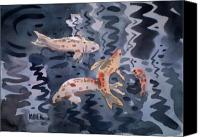 Plein Canvas Prints - Koi Pond Canvas Print by Donald Maier