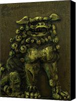 Green Reliefs Canvas Prints - Komainu Guardian Canvas Print by Erik Pearson