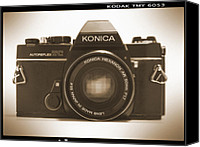 Lens Canvas Prints - Konica TC 35mm Camera Canvas Print by Mike McGlothlen