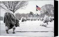 D.c. Photo Canvas Prints - Korean War Memorial Canvas Print by Granger