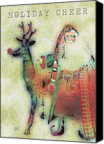 Santa Claus Canvas Prints - Kris And Rudolph Canvas Print by Arline Wagner