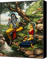 Parrot Canvas Prints - Krishna with Radha Canvas Print by Vrindavan Das