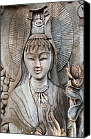 Buddhist Pyrography Canvas Prints - Kuan Yin  Canvas Print by Apatsara Sirirodchanapanya