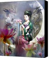 Woman Mixed Media Canvas Prints - Kuan Yin Lotus of Healing Canvas Print by Stephen Lucas