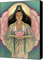 Mystical Canvas Prints - Kuan Yin Pink Lotus Heart Canvas Print by Sue Halstenberg